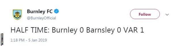 Burnley tweet at half time
