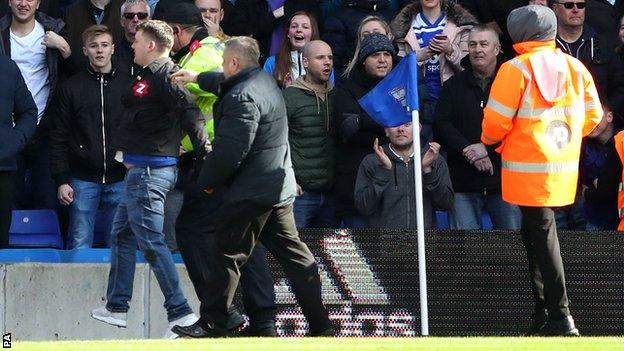 Paul Mitchell led away after attack on Jack Grealish at St Andrew's