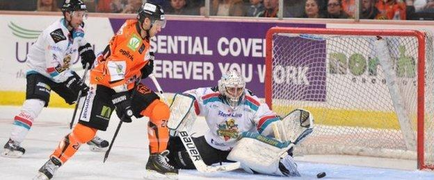 Sheffield Steelers go close against Belfast Giants in a league game earlier this month
