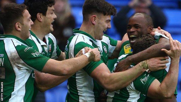 London Irish celebrate against Newcastle