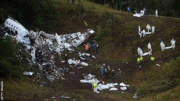 The scene of the plane crash close to Medellin in Colombia