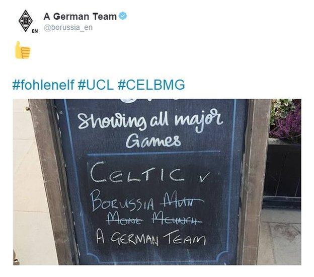'A German team' tweet