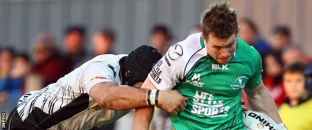 Matt Healy scored three of Connacht's six tries in Parma