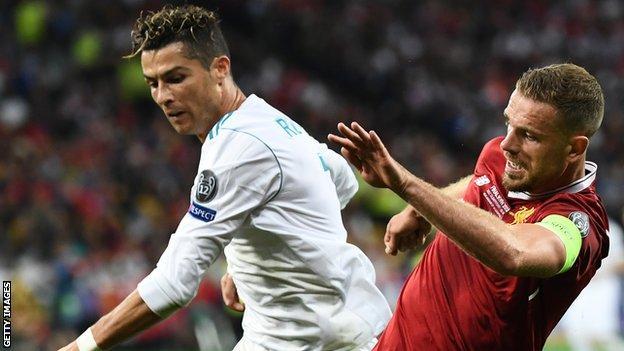 Jordan Henderson and Cristiano Ronaldo