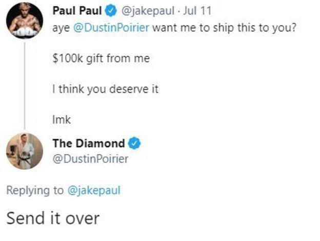 "Jake Paul ofrece enviarle a Poirer un contrato de $ 100,000, la estrella de UFC responde con ""enviado a través de""."