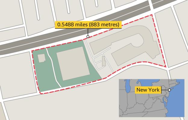 Map showing the course of the race - one lap of the circuit is 0.5488 miles