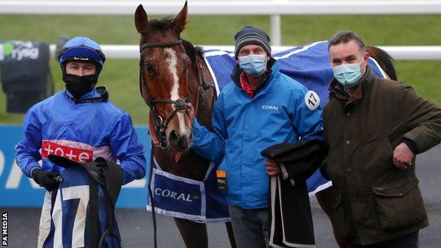 Secret Reprieve's win gave trainer Evan Williams (R) an elusive first Welsh Grand National title