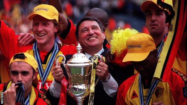 Graham Taylor celebrates with Watford after their 1999 Division One play-off final victory