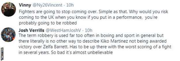 "Fans on Twitter criticise the judges' scorecard in the fight between Zelfa Barrett and Kiko Martinez, with one fan saying it's ""so bat it's almost unbelievable""."