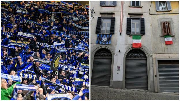 Atalanta flags and the streets of Bergamo