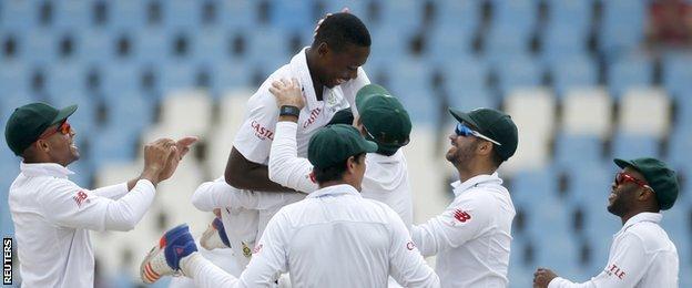Kagiso Rabada (top) celebrates with team-mates