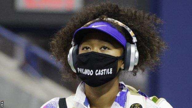 Naomi Osaka wears a mask with the name of Philando Castile before her semi-final match