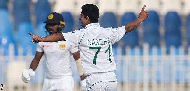 "Pakistan""s Naseem Shah celebrates dismissing Sri Lanka""s Oshada Fernando during the first day of the first Test cricket match between Pakistan and Sri Lanka at the Rawalpindi Cricket Stadium in Rawalpindi"