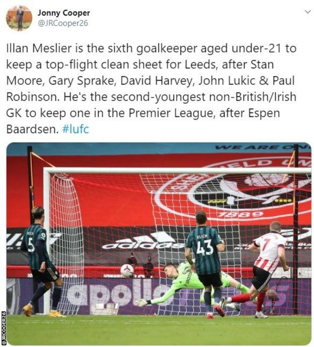 Meslier stat saying he is the sixth goalkeeper under the age of 21 to keep a clean sheet for Leeds in the English top flight