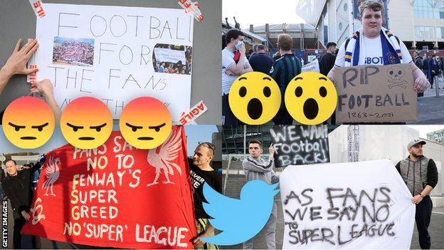 Fans around the country protest Super League plans.