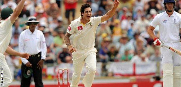 Australia's Mitchell Johnson celebrates a wicket in the 2010 Ashes Test at The Waca