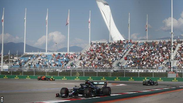 Fans watch the Russian Grand Prix in September