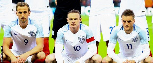 Harry Kane, Wayne Rooney and Jamie Vardy played together for the first time against Portugal on 2 June