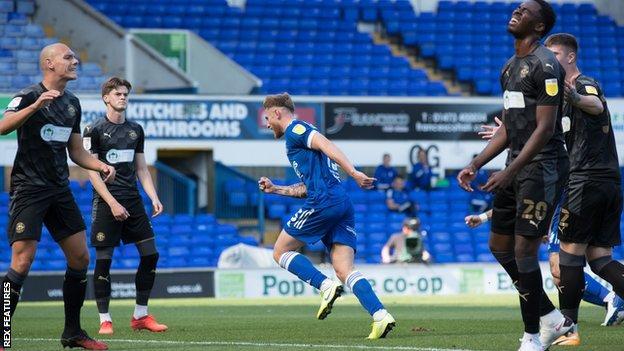 Teddy Bishop celebrates for Ipswich