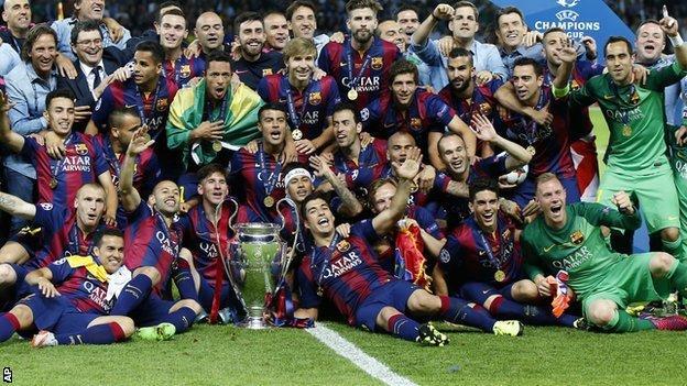 Barcelona celebrate winning the 2015 Champions League
