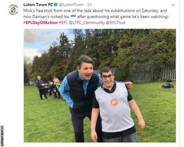 Mick Harford and fan Damian at Luton's Day of Action event