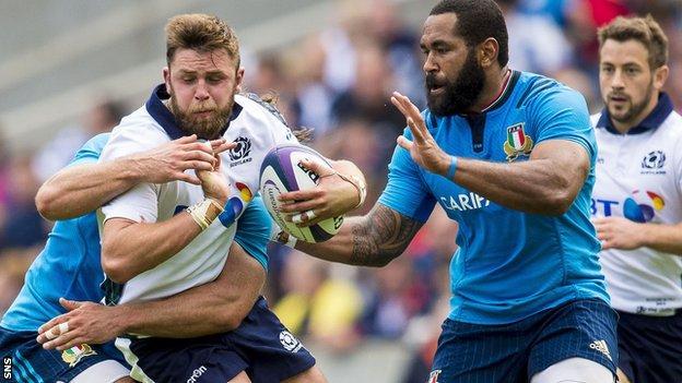 Scotland's Ryan Wilson against Italy