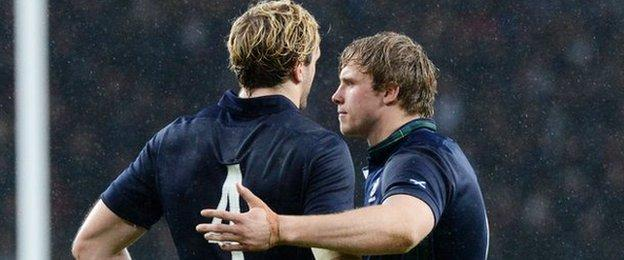 Scotland's Richie (left) and Jonny Gray at full-time