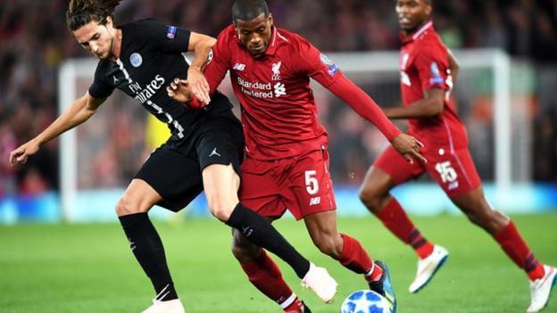 Georginio Wijnaldum in action fro Liverpool against Paris St-Germain in the Champions League
