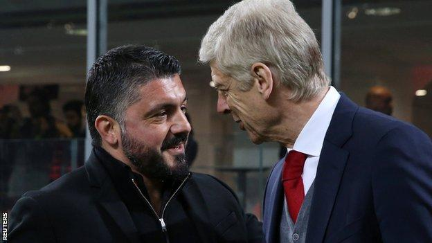 Milan boss Gennaro Gattuso greets Arsenal counterpart Arsene Wenger before kick-off