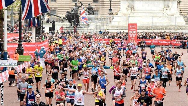 Runners in the London Marathon