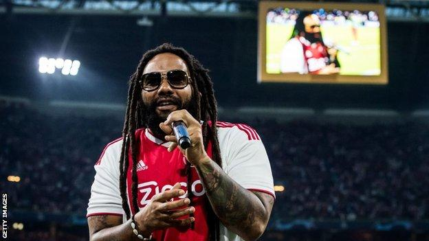 Ky-Mani Marley, son of Bob Marley during the UEFA Champions League group E match between Ajax Amsterdam and AEK FC at the Johan Cruijff Arena on September 19, 2018