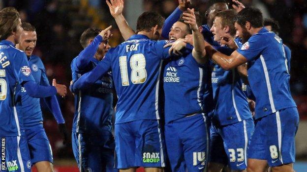 Peterborough United celebrate against Scunthorpe