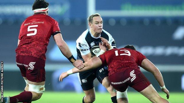Ospreys' Hanno Dirksen in action against Munster