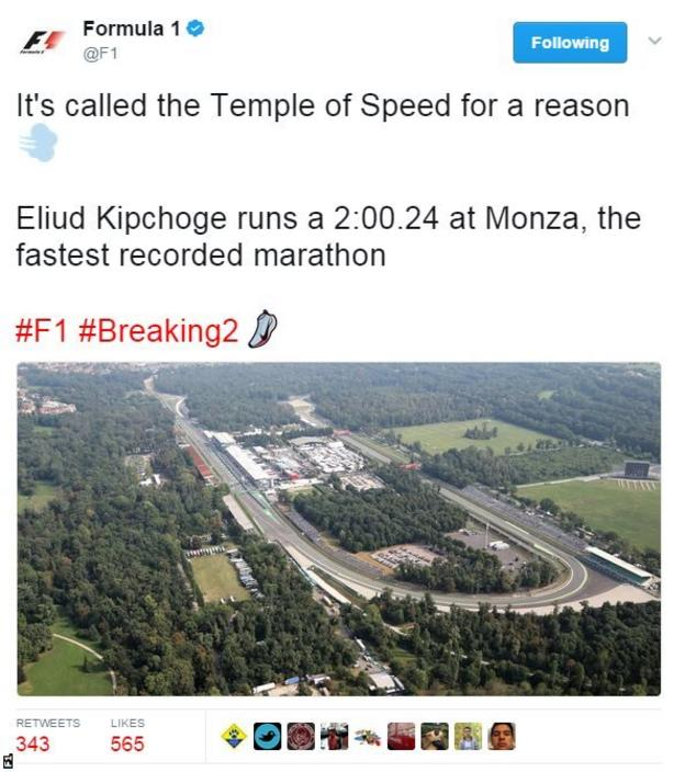 Formula 1's official account talked up the favourable conditions Monza provided