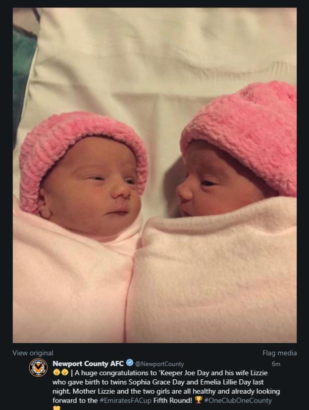 Newport County tweet picture of goalkeeper Joe Day's twin daughters