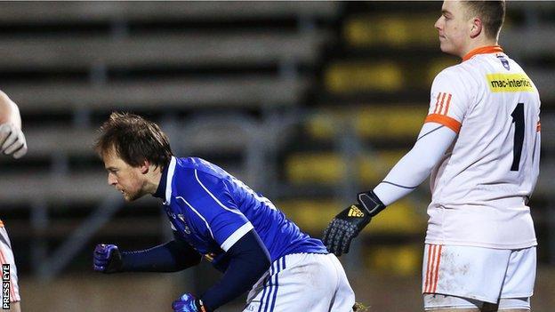 Cavan forward Seanie Johnston celebrates his early goal against Armagh at Breffni Park