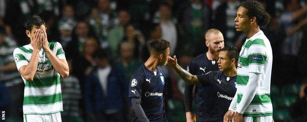Nir Bitton and Virgil van Dijk show their disappointment after Malmo score