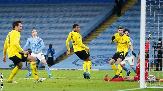 Phil Foden scores against Borussia Dortmund