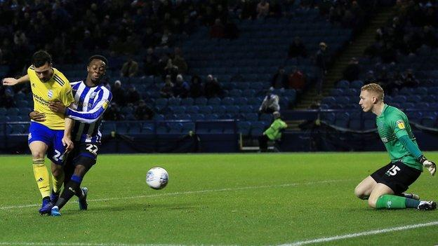 Birmingham City's Spanish striker Alvaro Gimenez met a low ball in from the right from Jeremy Bela to score the first goal of the night at Hillsborough