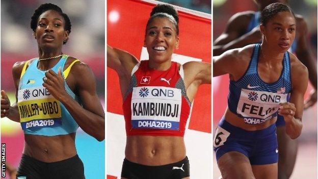 Shaunae Miller-Uibo, Mujinga Kambundji, Allyson Felix