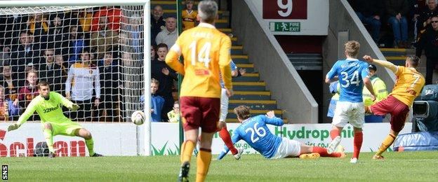 Motherwell's Lionel Ainsworth scores against Rangers