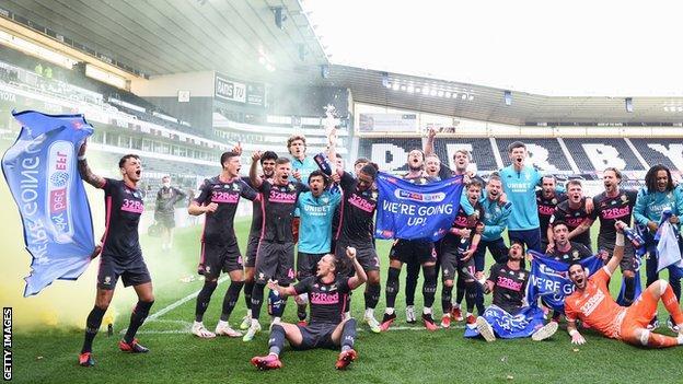 Leeds celebrate at Derby