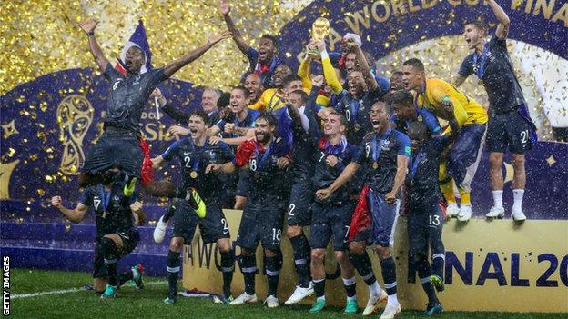 France celebrate winning the World Cup in Russia in 2018