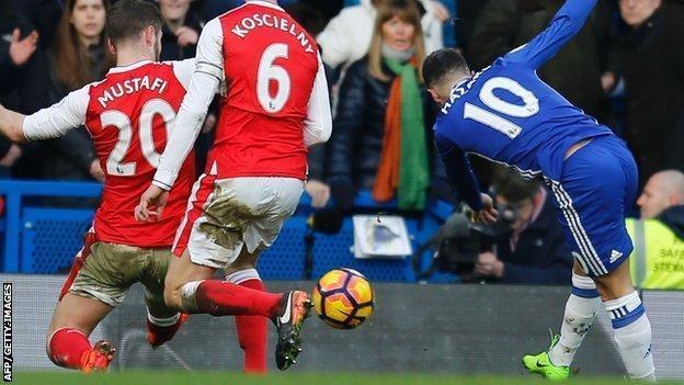 Eden Hazard scores against Arsenal in February
