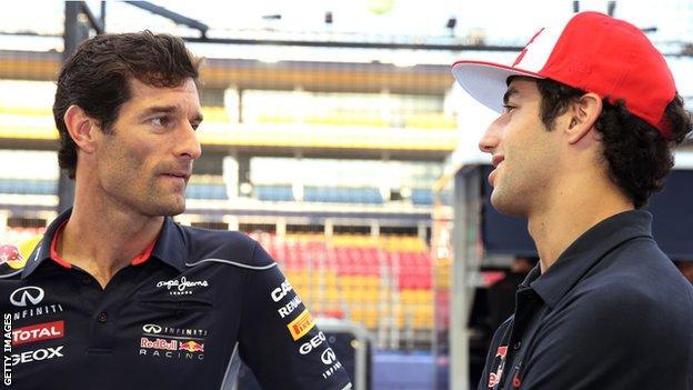 Mark Webber and current Red Bull driver Daniel Ricciardo