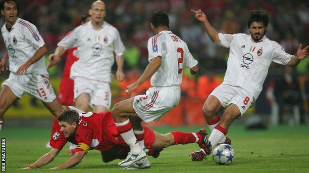 Steven Gerrard is fouled for the penalty which led to Liverpool's equaliser