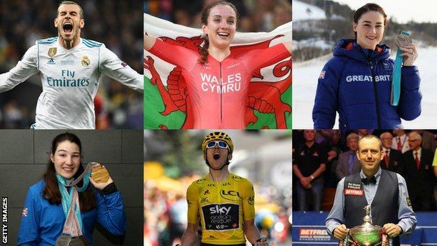 Gareth Bale, Elinor Barker, Laura Deas, Menna Fitzpatrick, Geraint Thomas, Mark Williams