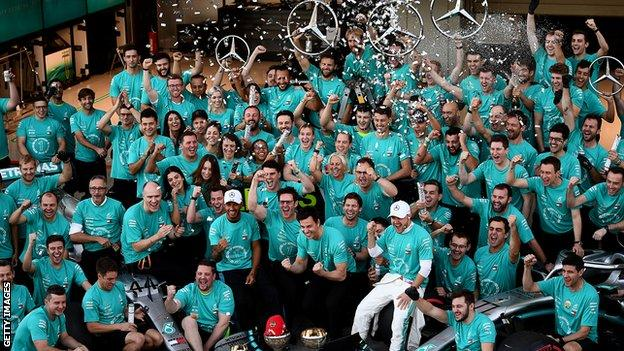 Mercedes celebrate winning a sixth constructors' championship
