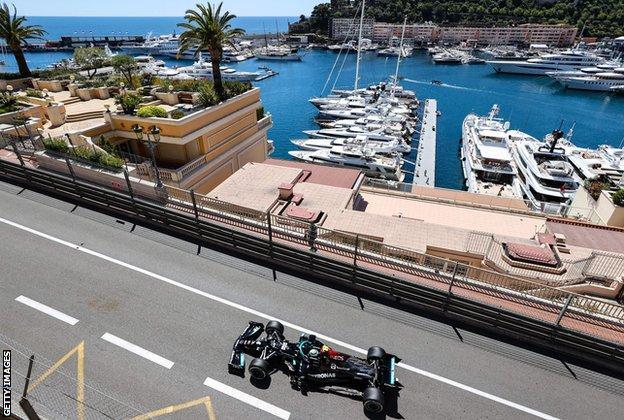 Valtteri Bottas of Mercedes drives around the Monaco track