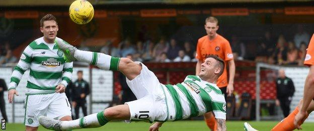 Celtic forward Anthony Stokes in action against Dundee United